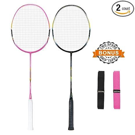 e12756abf07 Amazon.com   QICHUAN 2 PCS 100% Graphite Badminton Racket Set
