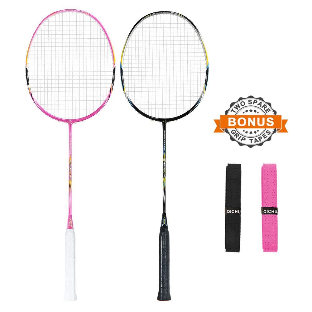 QICHUAN 2 PCS 100% Graphite Badminton Racket Set, Large Racquet Bag / 2 Grip Tapes Included (Black+Pink)