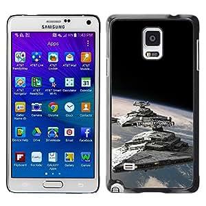 KLONGSHOP // Cubierta de piel con cierre a presión Shell trasero duro de goma Protección Caso - Destructores Estelares - Samsung Galaxy Note 4 //