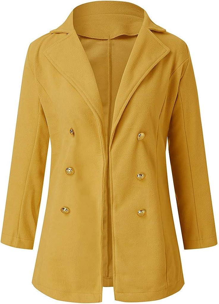 Dainzuy Womens Pea Coats Winter Outdoor Warm Wool Blended Casual Work Office Blazers Button Jacket Outwears