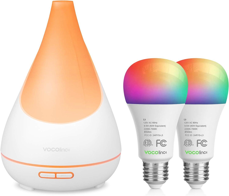VOCOlinc Smart Oil Aromatherapy Diffuser and 2 Pack Smart Wi-Fi LED Light Bulb Bundle