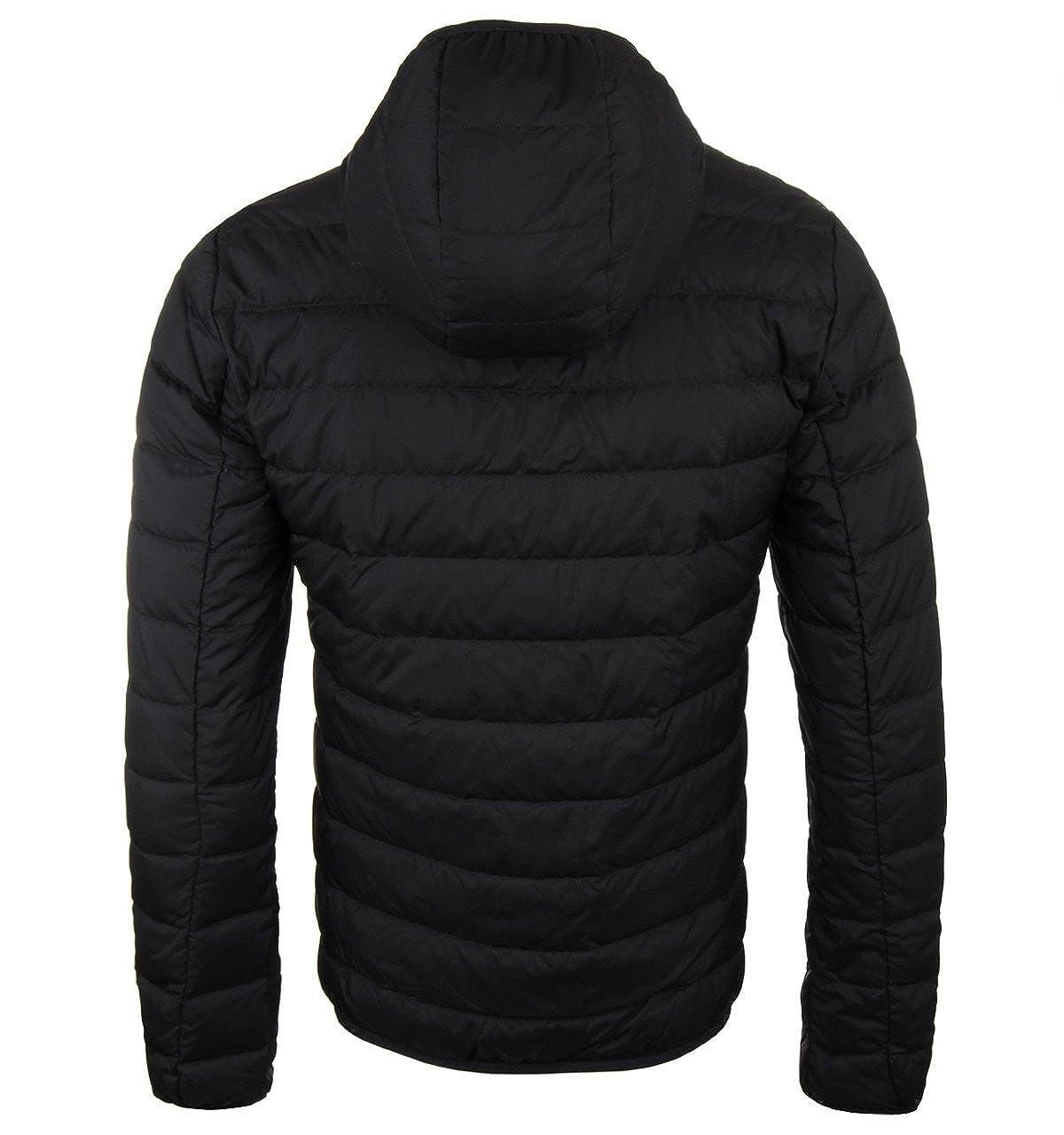 b5e6f5b45 EA7 Black Herringbone Padded Hooded Pack-Away Jacket: Amazon.co.uk ...