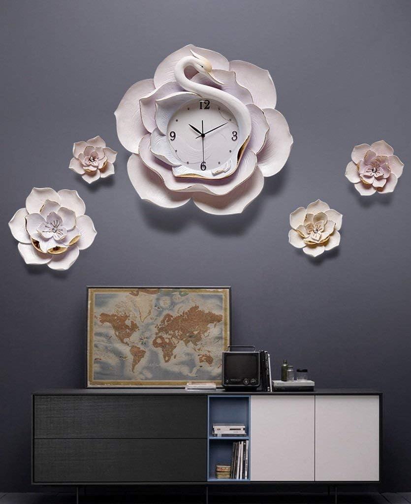 クリエイティブウォールクロックモダンサイレントフラワーウォールクロック3D DIYウォールクロック、装飾装飾品ホームファッションラウンドクォーツ時計(色:#2)