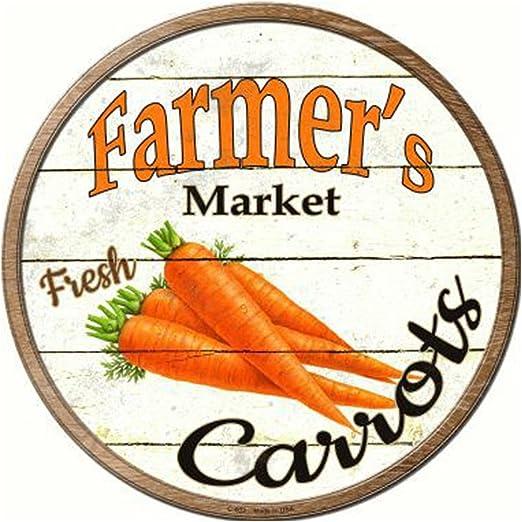 "Farmers Market Carrots Novelty Metal Circular Sign 12/"""