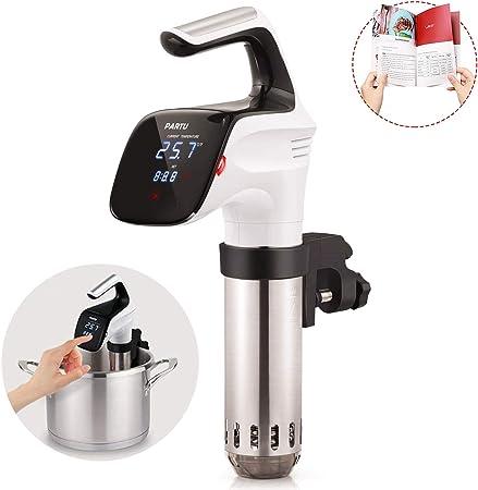 PARTU Sous Vide Cooker, máquina de circulación de inmersión, control preciso del temporizador de temperatura, acero inoxidable y abrazadera extraíble, silencioso, negro: Amazon.es: Hogar