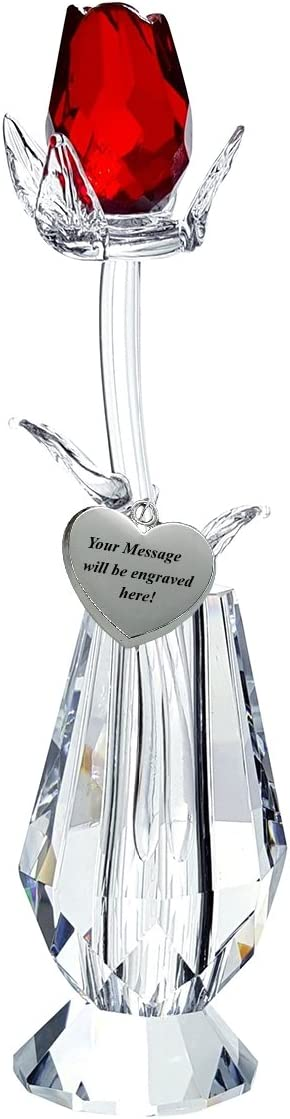 Crystal Red Rose in Vase in Blue Velvet Box with Customizable Silver Heart Tag