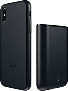 Magplus Battery Charging Case for iPhone X/XS – Detachable & Magnetic Smart Charger Case for Apple Wireless Charging – Protective Portable Rechargeable Charging Cover Compatible with iPhone - Black