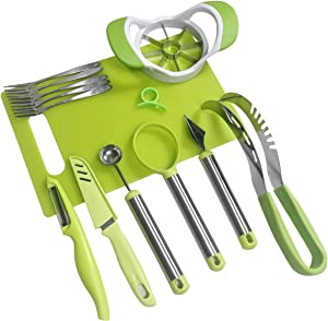 Coralpearl Garnish Shape Tools for Fruit Vegetables:Watermelon Slicer Wedger,Melon Baller Scoop,Apple Corer Remover,Carving Cutter Knife,Pulp Separator,Citrus Peeler,Chopping Board,Kitchen Forks (10)