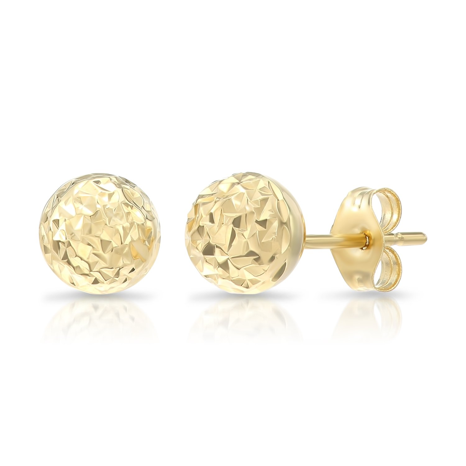 14k Yellow Gold Diamond-cut Ball Stud Earrings (6mm)