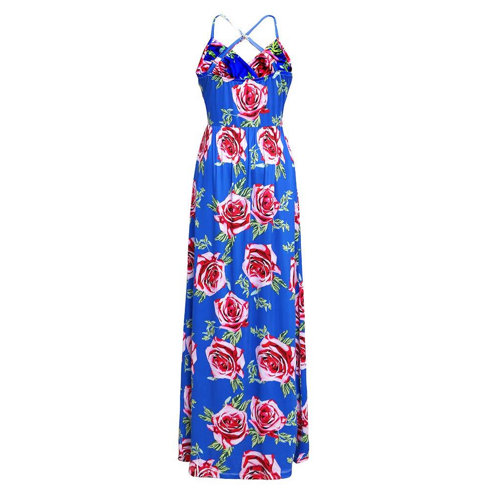 Floral Long Dress for Women,SMALLE◕‿◕ Womens Sleeveless Halter Neck Swning Maxi Dress Backless Beach Dress