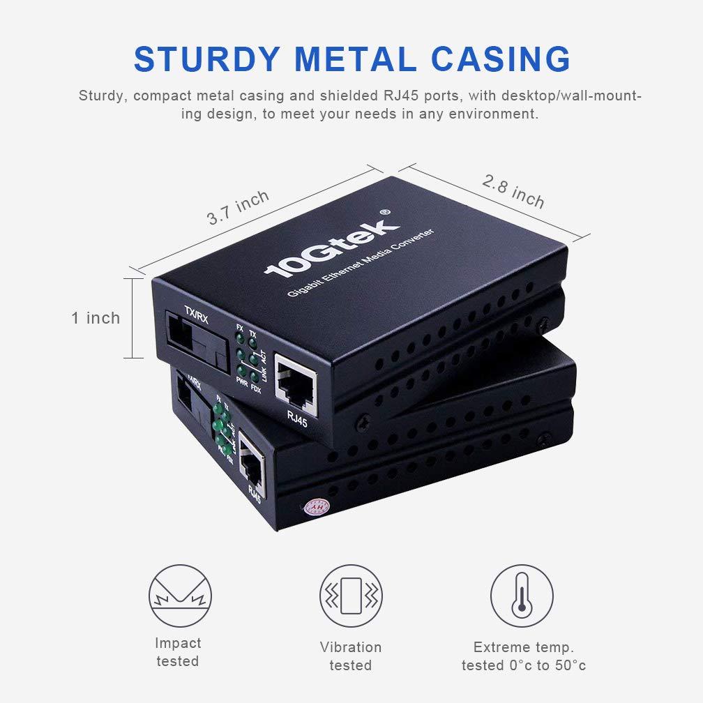 Gigabit Ethernet Media Converter, a Pair of Bi-Directional Single Mode SC Fiber Converter, 1000Base-LX to 10/100/1000Base-Tx, up to 20km by 10Gtek (Image #5)