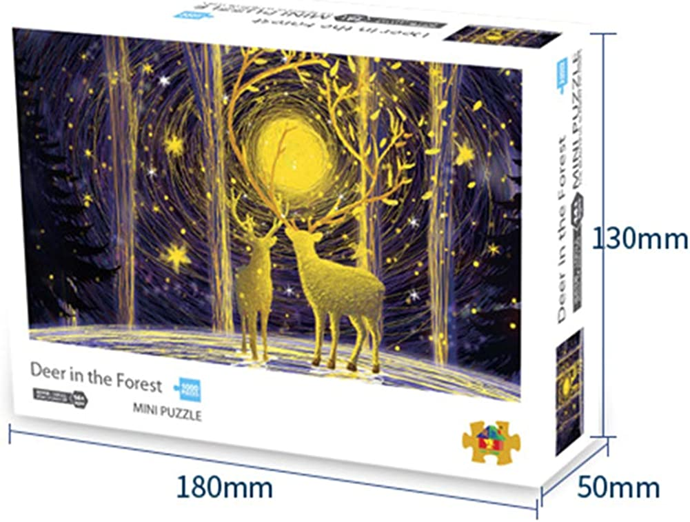 Jigsaw Puzzles 1000 Pieces Wooden Puzzles for Adults Colorful Deer Puzzle for Kids Educational Toy and Adults Home Decoration Collectibles Decompressing Game