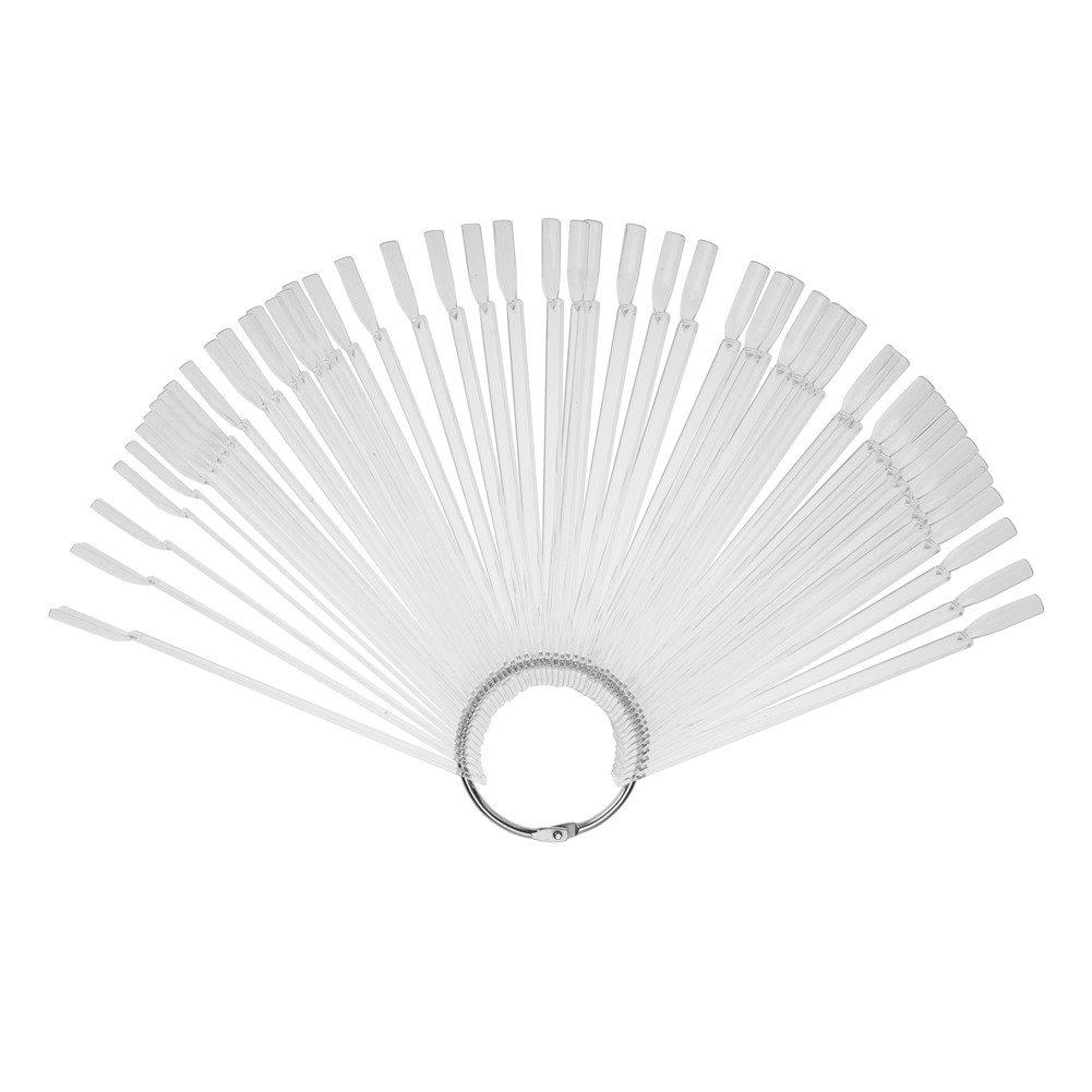 Nagel-Kunst-Anzeigen-Rad, klarer fächerförmiger falscher Anzeigen-Nagel-Kunst-Praxis-Tipp-Stock mit Band-Nagel-Kunst-Farbmuster-Entwurfs-Werkzeugen GLOGLOW