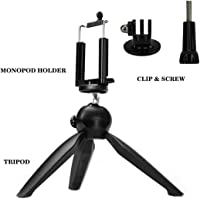 TASLAR Non Flex Universal Stable Mini Tripod with Monopod Mount Adapter & Screw Accessory