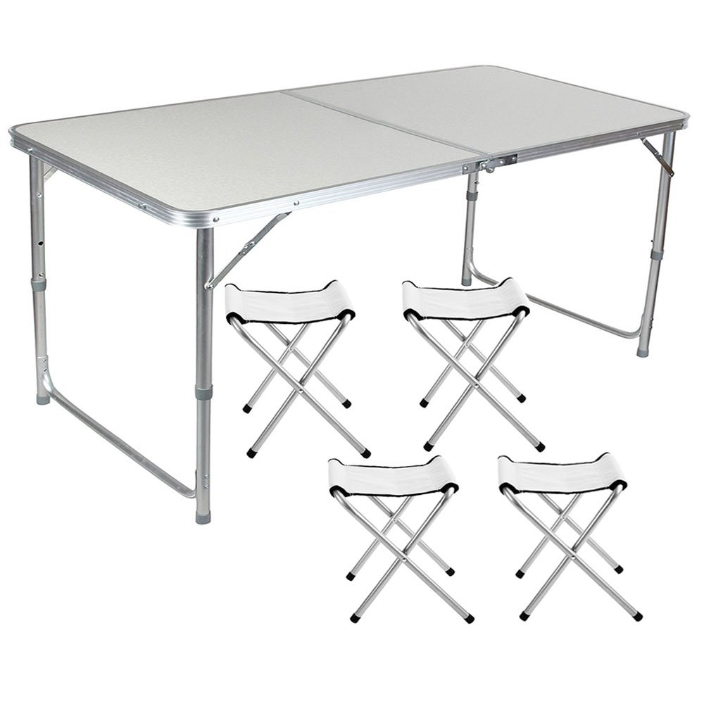 Lennov 4FT 1.2M Folding Camping Table - Rectangular Outdoor Picnic Table - Super Tough, With 4 Chairs, 120 x 60 x 70 cm