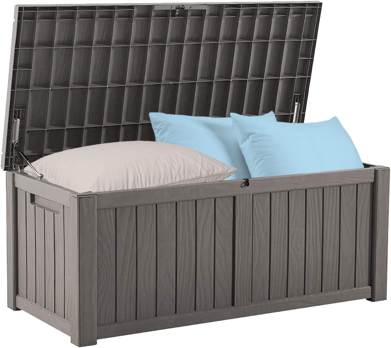BLUU 120 Gallon Outdoor Deck Box Storage for Outdoor Pillows, Pool Toys, Garden Tools, Furniture and Sports Equipment | Water-resistant | Grey | Lock Included