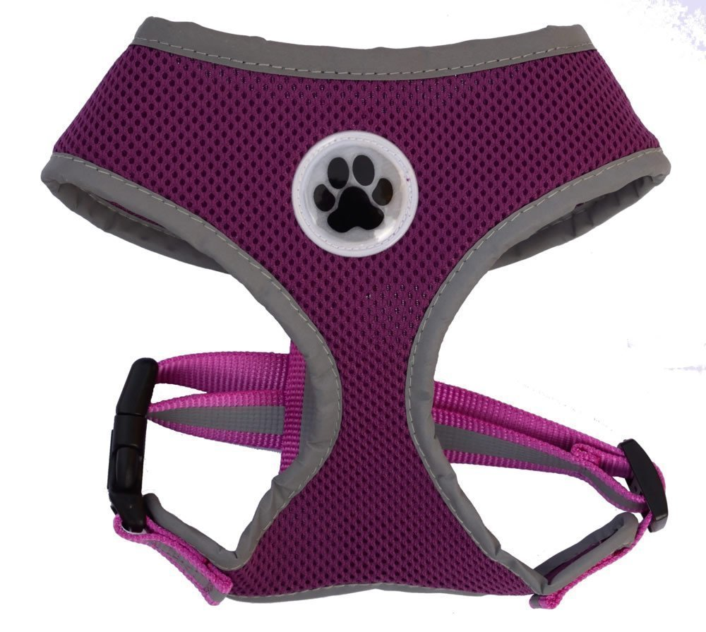 Lanyar Purple Reflective Mesh Soft Dog Harness Safe Harness No Pull Walking Pet Harnesses for Medium Dogs, Purple XLarge