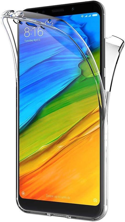 TVVT Compatible con Funda Xiaomi Redmi 5 Plus, Ultrafino Transparente Protectora 360 Grados Integral Carcasa Ultraligero Suave Silicona TPU Bumper Case Delantera Trasera Protectora Movil