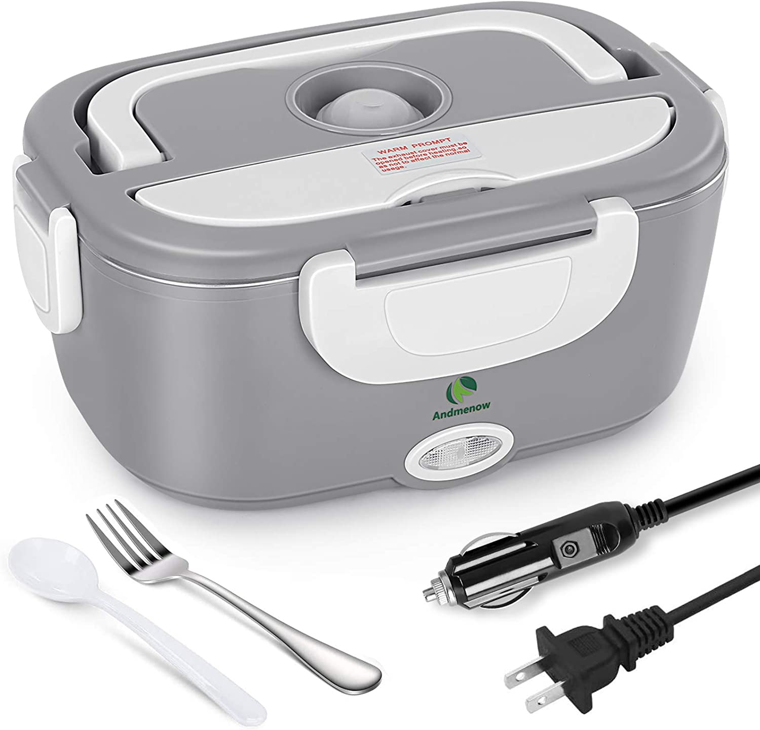Andmenow Electric Lunch Box 3 in 1 for Car/Truck and Office, Portable Heater 110V & 12V 24V 40W Stainless Steel Food Heater 1.5L, Spoon and 2 Compartments Included (Gray)