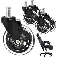 Caster Weels Bureaustoelwielen, 5-delige set wielen voor harde vloeren, draaistoelwielen, pen 11 mm x 22 mm, rustige…