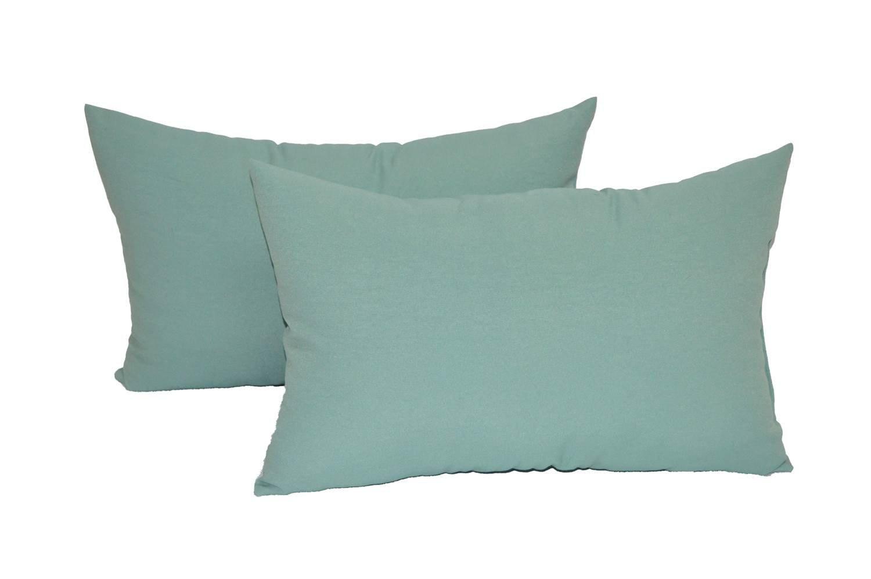 Set of 2 Indoor / Outdoor Decorative Lumbar / Rectangle Pillows - Solid Spa / Aqua Fabric - Choose Size (16'' x 26'')