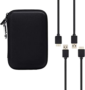 Estuche portátil para Disco Duro con 2 Cables de Carga USB 3.0, Estuche portátil Externo para Fuente de Disco Duro SourceTon y Cable de Cargador A-Macho a Micro-B- 3 pies: Amazon.es: Electrónica