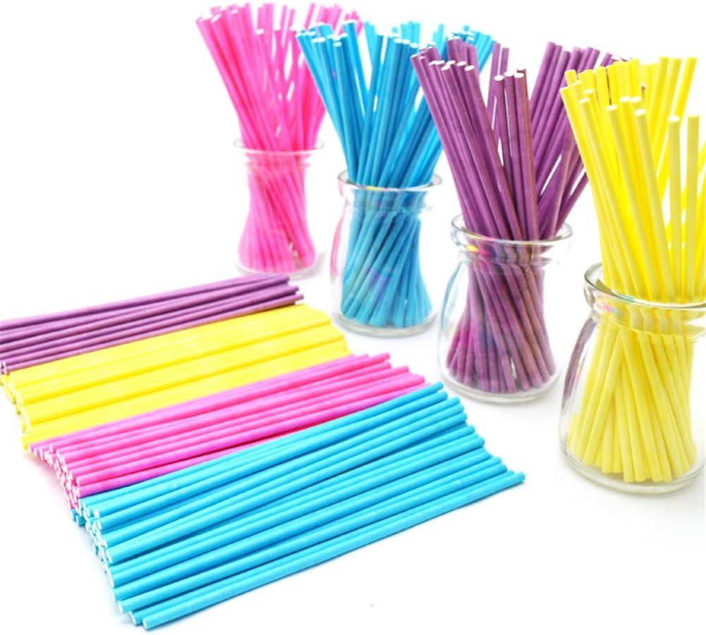 Mioloe 100//pack 6 pulgadas color Lollipop Palos de 5 colores para Cake Pops manzana caramelo