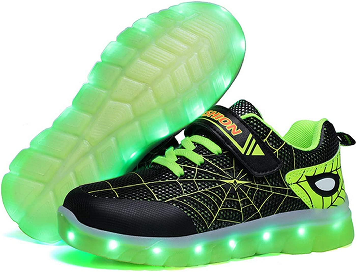 Zapatillas deportivas luminosas para niños [2020 Nueva Versión] recargables, luminosas, para niños y niñas, New Spiderman, color Verde, talla 18 EU: Amazon.es: Zapatos y complementos
