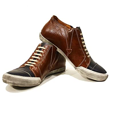 81c6340e0e40 Modello Emiliano - 7 US - Handmade Italian Mens Brown Fashion Sneakers  Casual Shoes - Cowhide