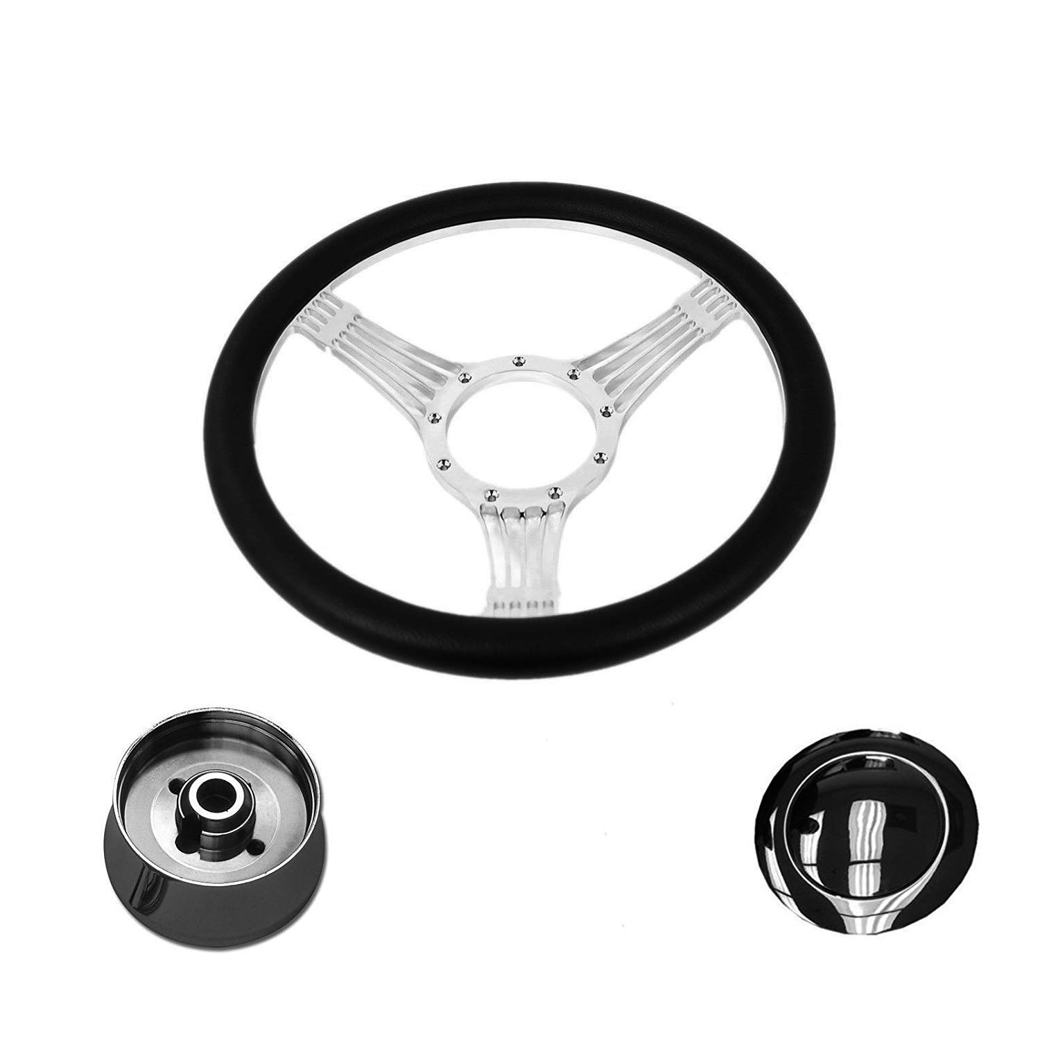 DEMOTOR Hot Rod 14'' Chrome Billet Banjo Style Steering Wheel Adapter Horn Button & Leather Grip Included