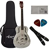 Gloss Chrome Plated Acoustic Brass Body Resonator Guitar With Case and Strap