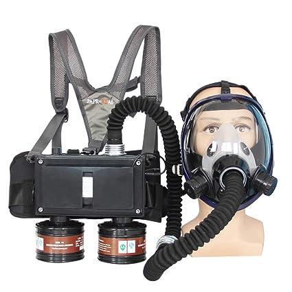 Máscara de gas de cara completa con sistema de respirador de dos entradas de aire