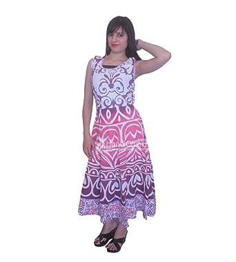 handmade exports Pink Purple Ombre Mandala Sleeveless Evening Gown Wedding  Proms Party Maxi Dress