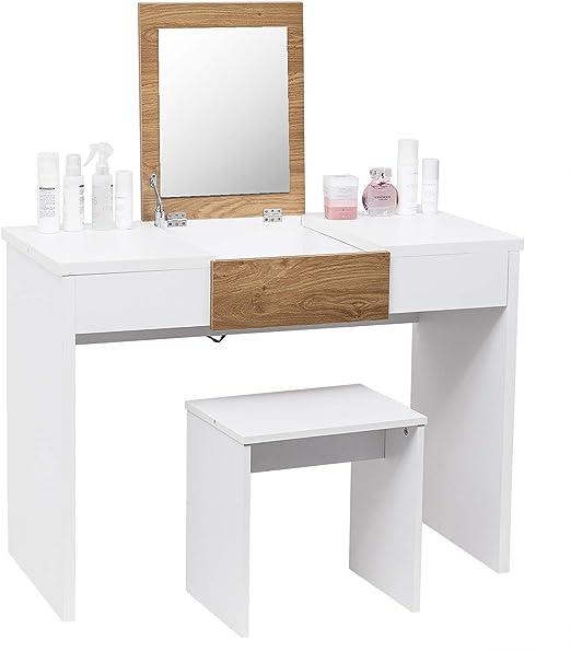 WOLTU Tocador con Espejo Mesa de Maquillaje con Taburete y Espejo ...