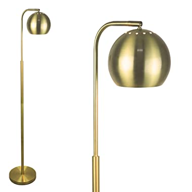 """Floor Lamp by LightAccents - Mid Century Modern Decor - Standing Lamp - Floor Lamp for Living Room - Globe Reading Lamp - 59"""" Tall - Floor Lamp for Bedrooms - Brushed Brass Finish"""