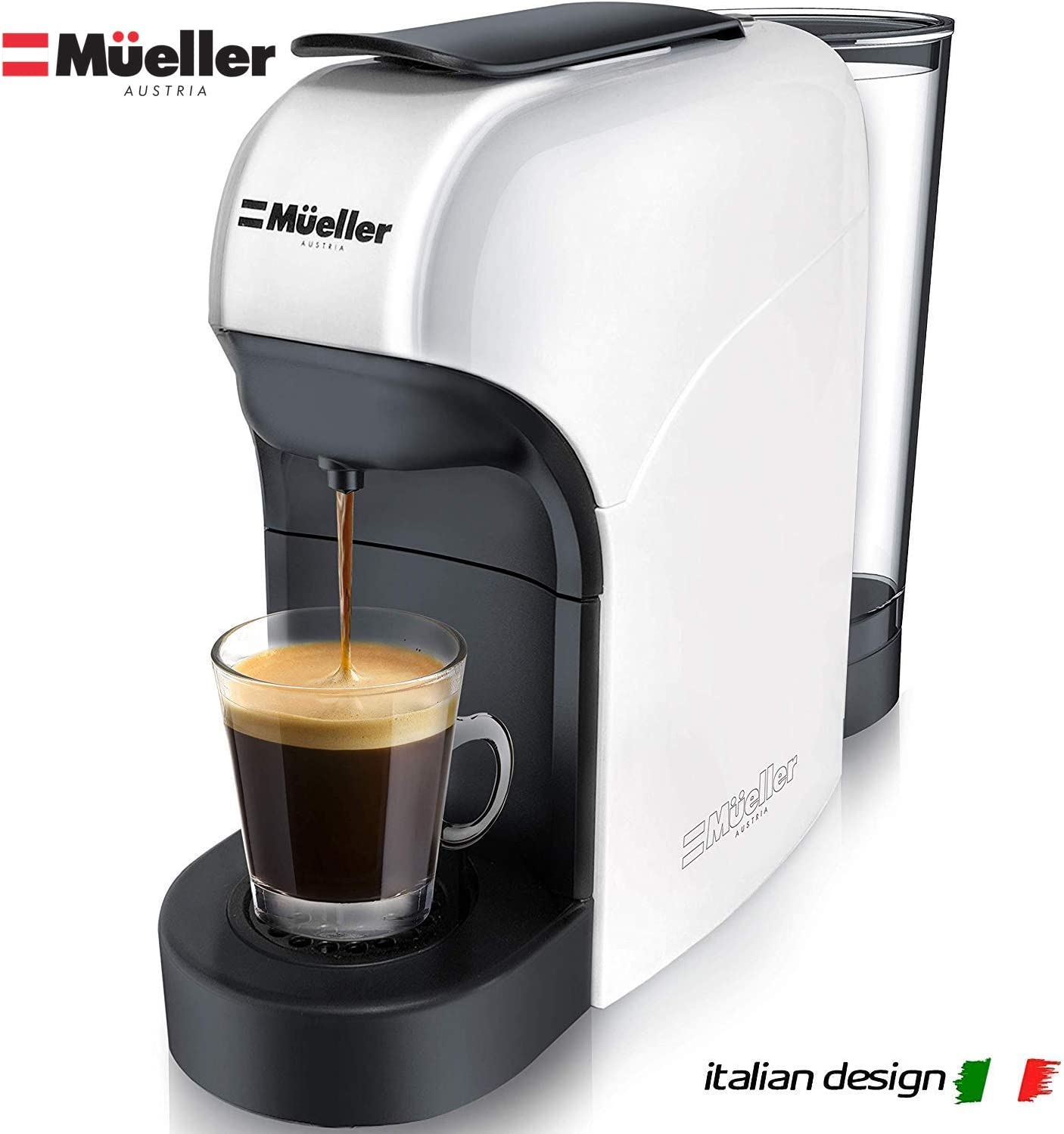 Mueller Espresso Machine for Nespresso Compatible Capsule, Premium Italian 20 Bar High Pressure Pump, 25s Fast Heating with Energy Saving System, Programmable Buttons for Espresso and Lungo, 1400W