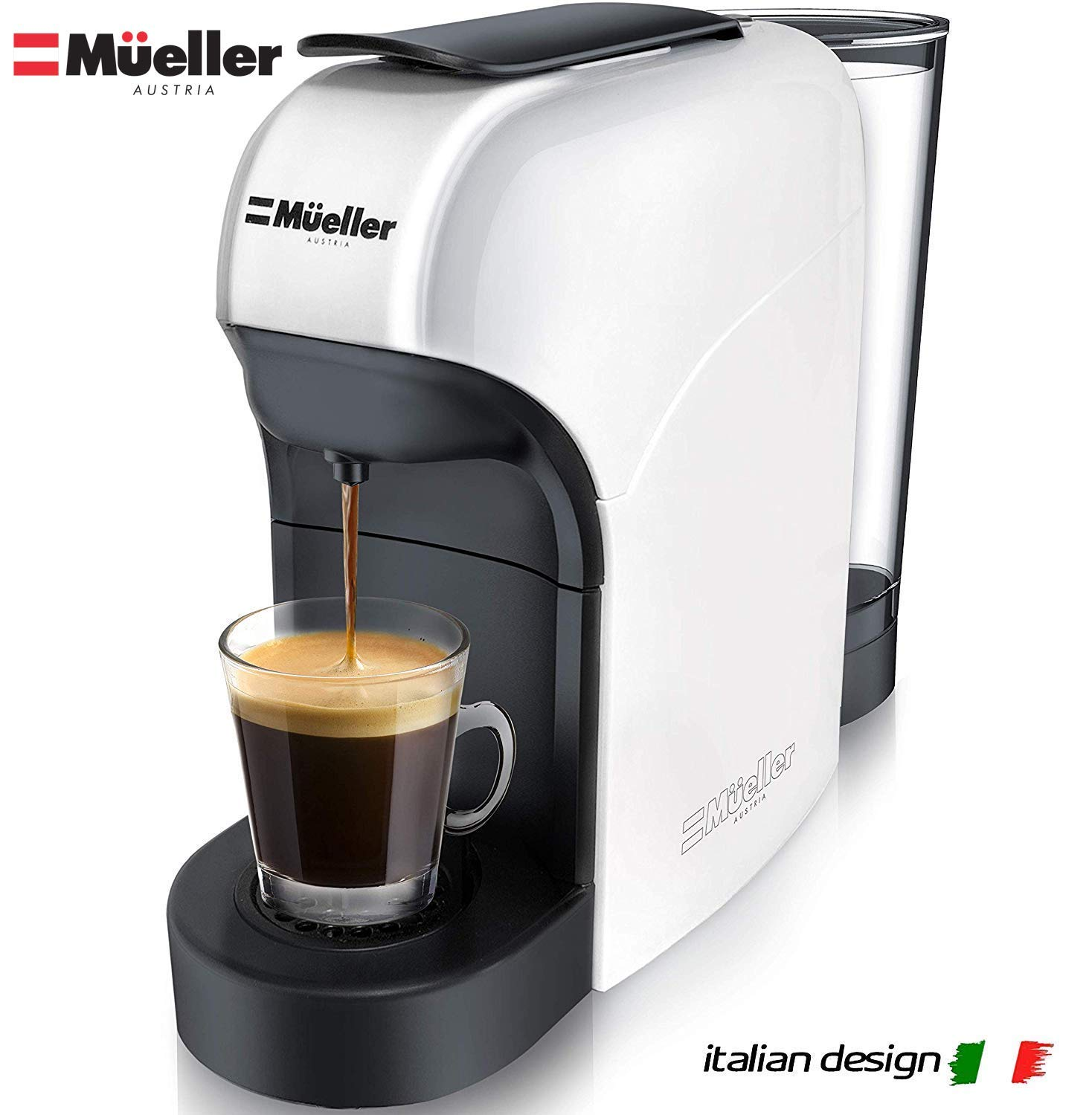 Mueller Espresso Machine for Nespresso Compatible Capsule, Premium Italian 20 Bar High Pressure Pump, 25s Fast Heating with Energy Saving System, Programmable Buttons for Espresso and Lungo, 1400W by Mueller Austria (Image #1)
