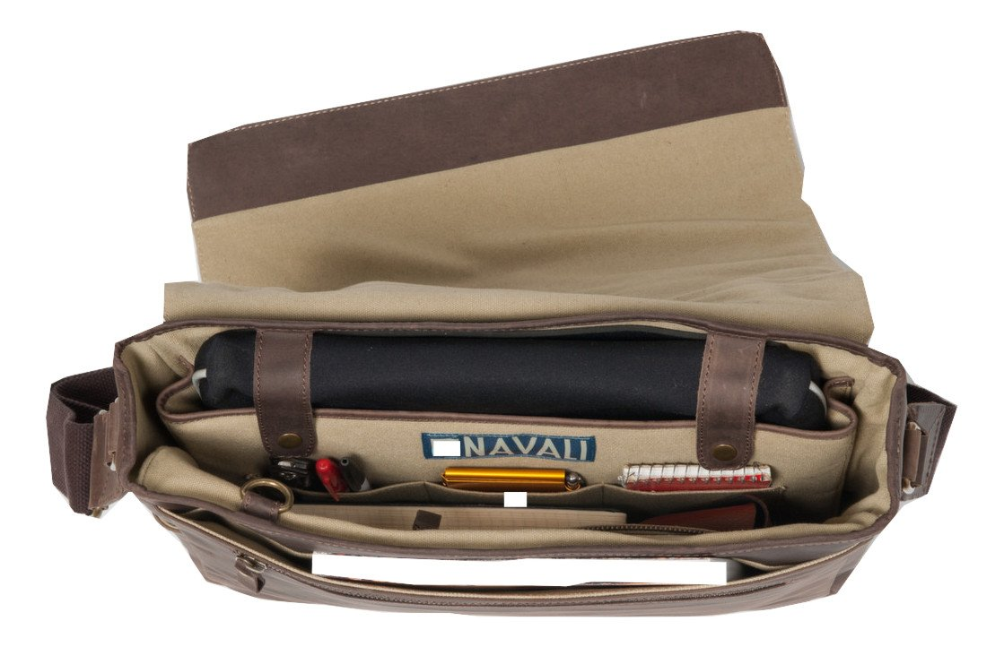 Navali Leather Mainstay Computer Messenger Bag, Brown by Navali (Image #4)