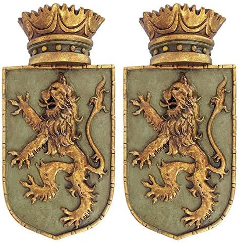 Design Toscano Medieval Rampant Lion Crest Medieval Decor Wall Sculpture – Set of Two, 14 Inch, Polyresin, Full Color