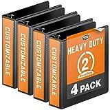 Wilson Jones Heavy Duty Round Ring View Binder, 2'', Customizable, Black, 4-Pack (W70363-44B)