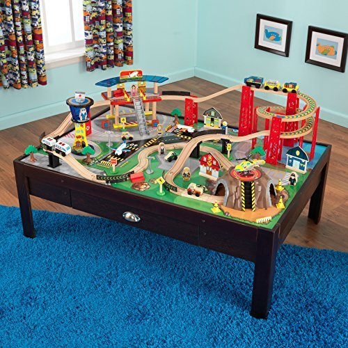 Wooden Train Set Airport Express with Childrens Table Kids Cars Airplane ()