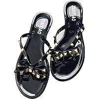 Womens Rivets Bowtie Flip Flops Jelly Thong Sandal Rubber Flat Summer Beach Rain Shoes Black