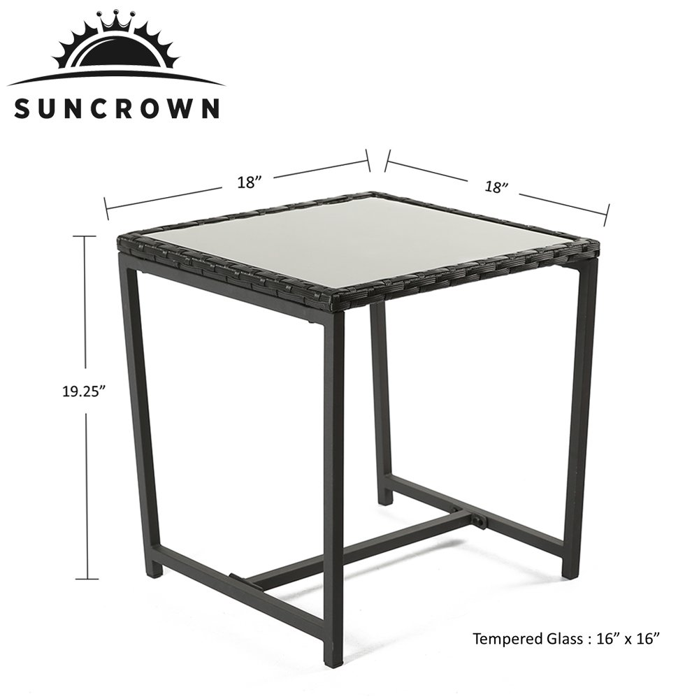 Suncrown Outdoor 3-Piece Rocking Wicker Bistro Set: Black Wicker Furniture - Two Chairs with Glass Coffee Table (White Cushion) by Suncrown (Image #5)