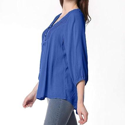 7c9522aa069 FimKaul Women s 3 4 Sleeve Lace up Crew Neck Tassel Tunic Shirts Chiffon  Solid Tops