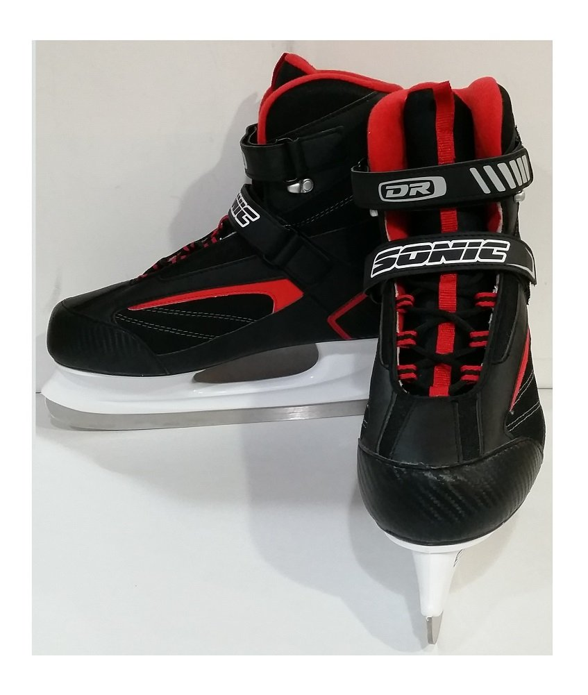 DR Sports Men's Softboot Ice Hockey Skate Black/Red, Size 10 by SR Sports