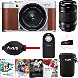 Fujifilm X-A5 Camera (Brown) w/ XC15-45mm + XF55-200 f/3.5-4.8 R LM OIS Lens (Silver) + Software & Accessory Kit