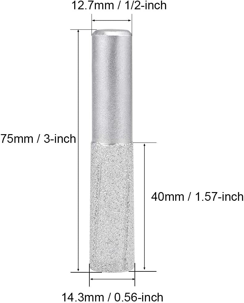 uxcell 14.3mm Diamond Straight Router Bit Brazed Cylinder Profile Wheel 1//2-inch Shank for Stone Granite Marble