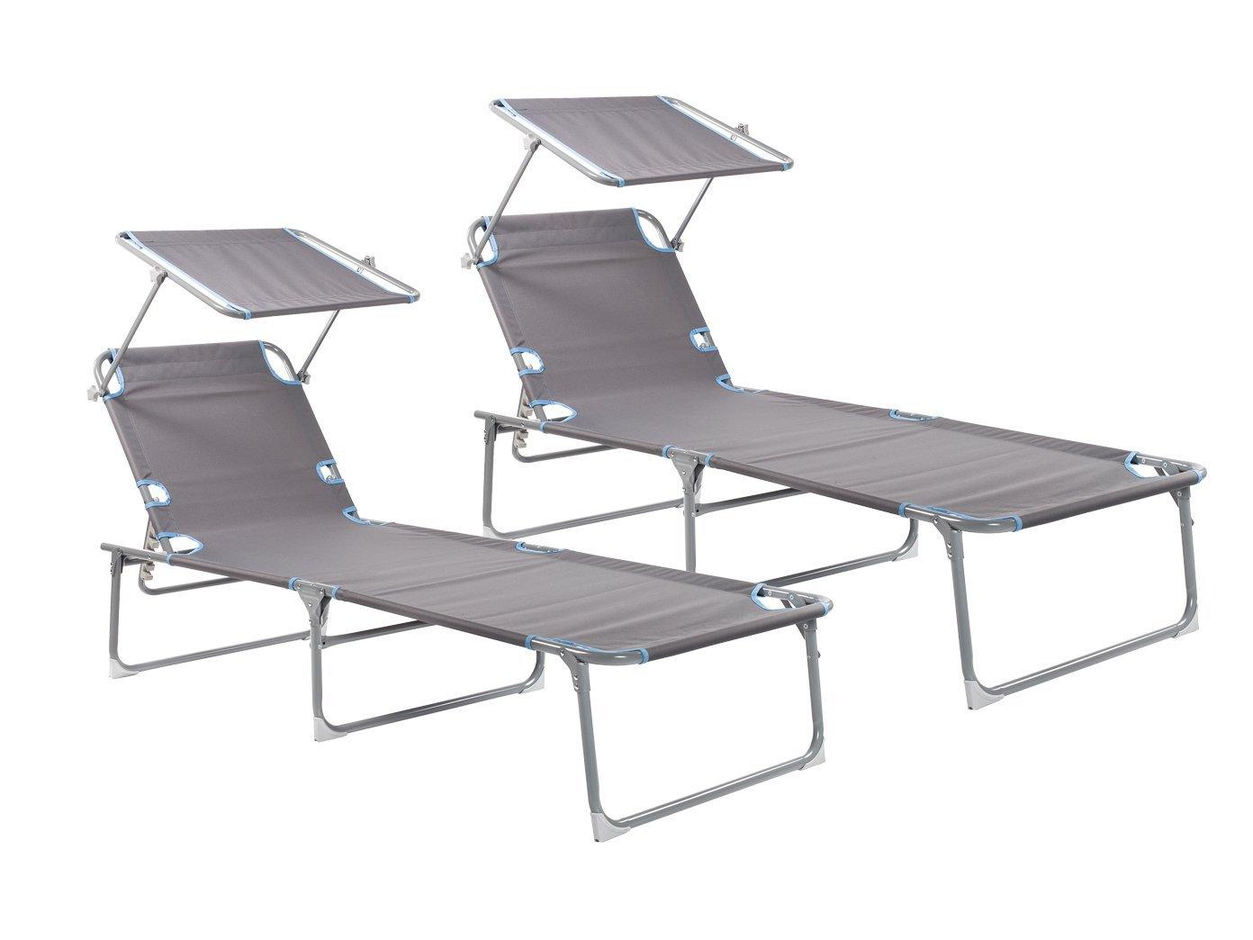 2er-Set Sonnenliege mit Dach, verstellbar, zusammenklappbar, belastbar bis 120kg; Campart Travel BE-0625