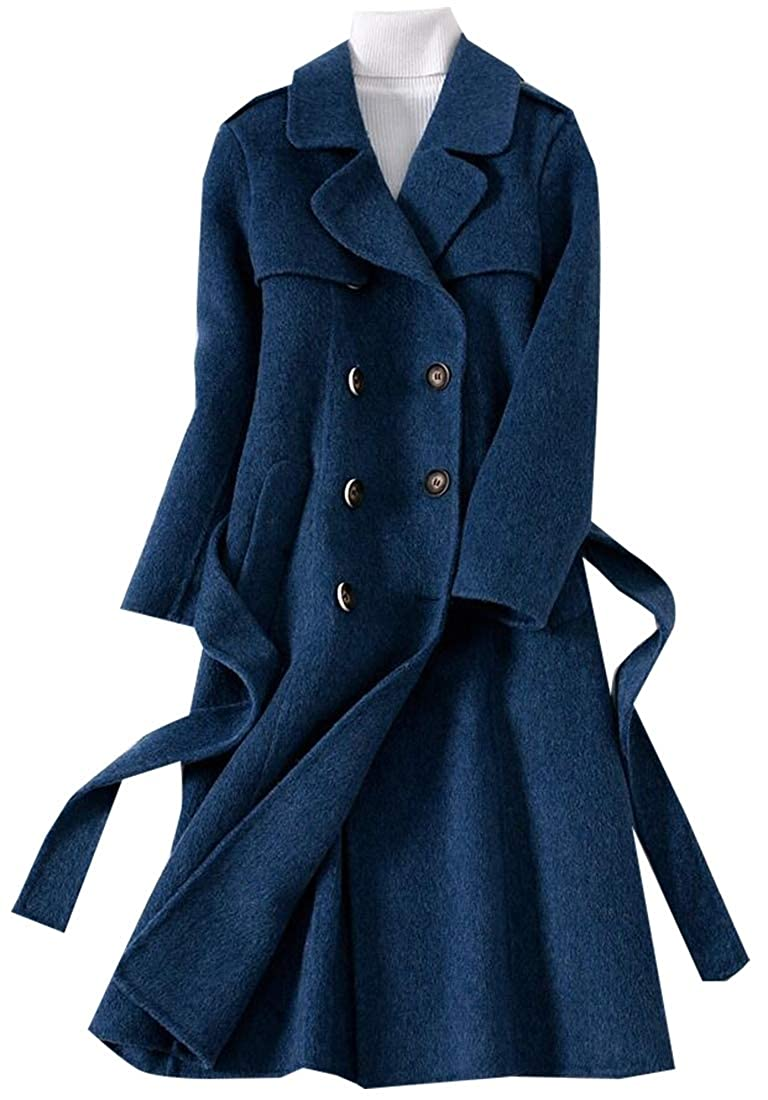 2 jxfd Winter Laple Long Wool Trench Coat Double Breasted Overcoat with Belt