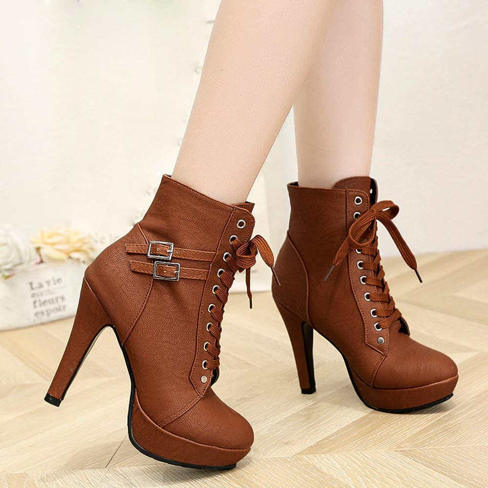 Sunmoot Fashion Women Ankle Lace-up Round Toe Leather Shoes Stiletto Heeled Boots